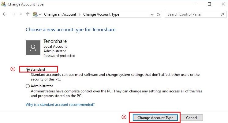 Windows 10 change new account type