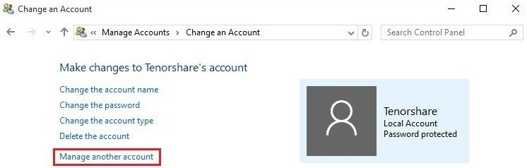 Win 10 manage another account