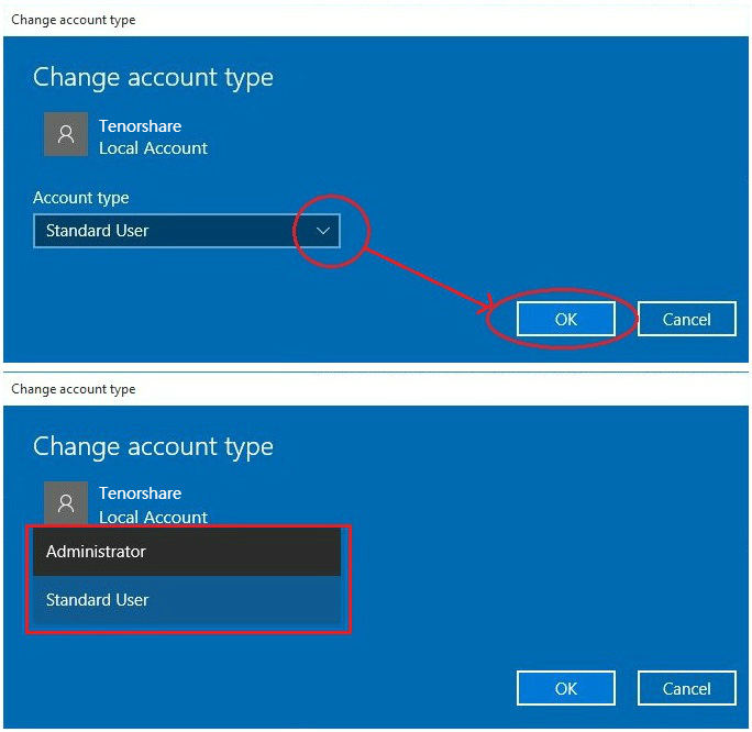Windows 10 change account type in settings