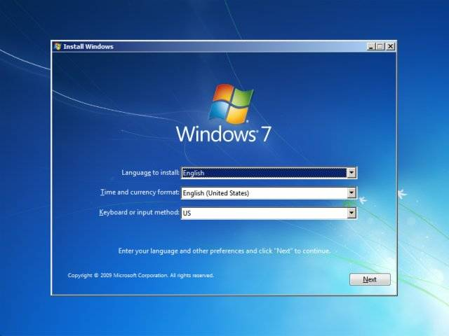 customize windows 7 installation settings on the beginning