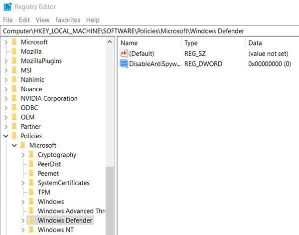 windows 10 defender disable registry