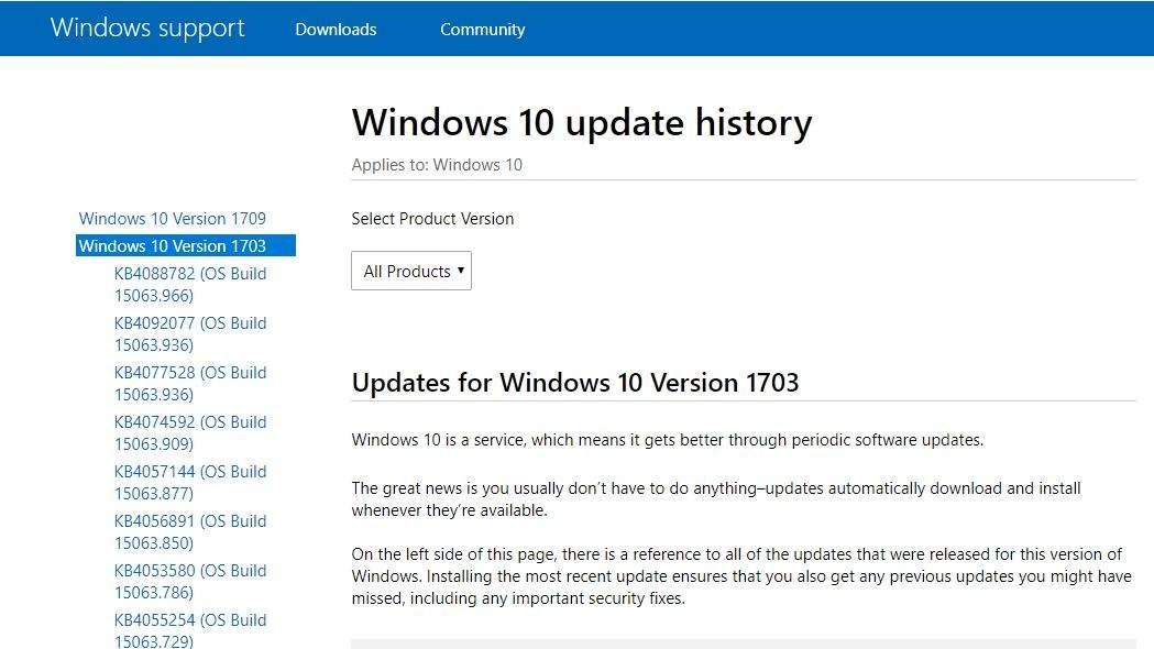 windows10 update history
