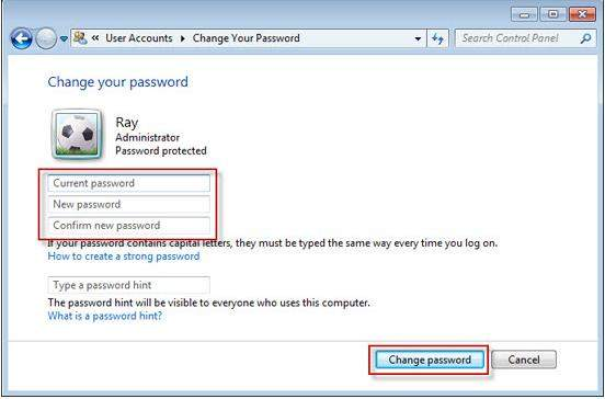 system administrator password reset windows 7