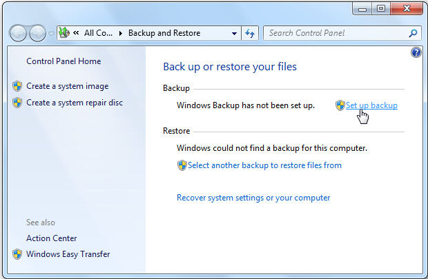 backup feature windows 7