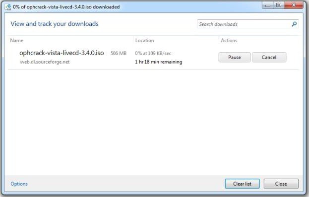 ophcrack download iso