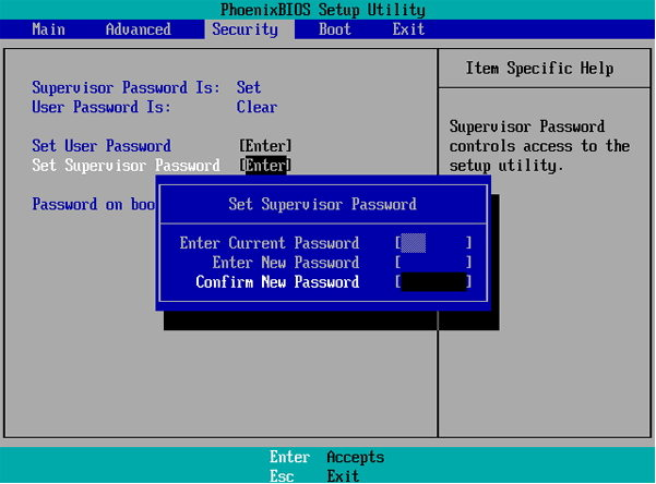 disable supervisor password on windows 7