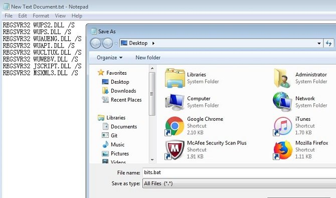 modify bits related registry files for windows 7