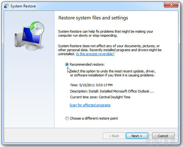 restore windows 7 files and settings from restore point