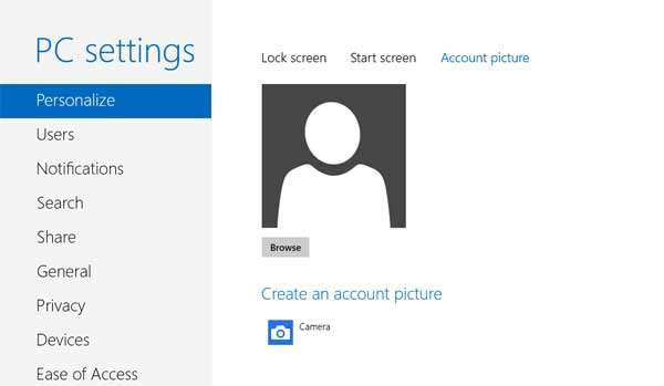 account picture windows 8