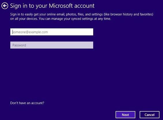 change email address to access windows 8.1