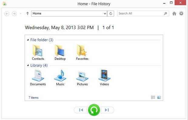 restore files with file history windows 8.1