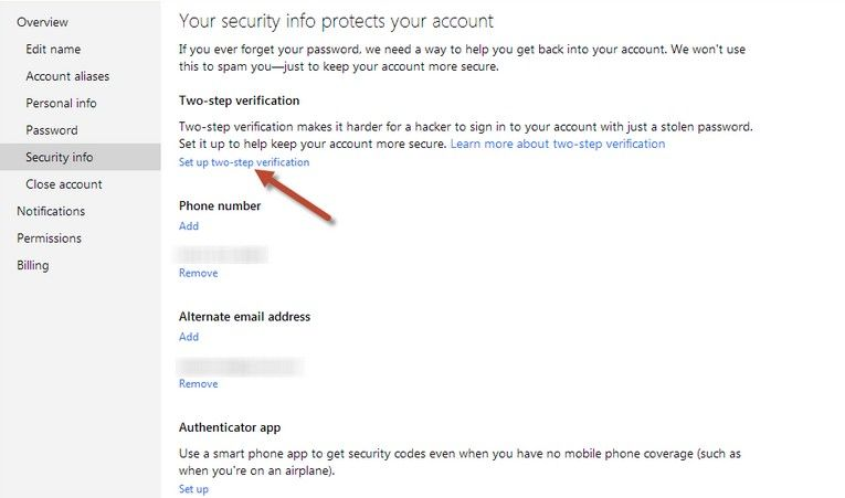 enable two step verification with microsoft account