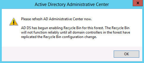 refresh ad administrative center