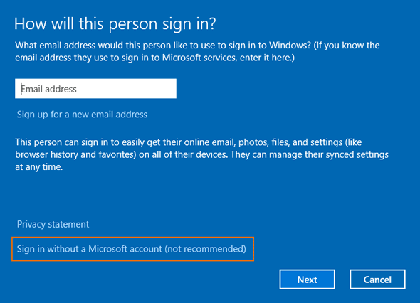 choose sign in without microsoft account