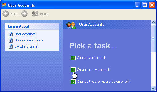 how to create a new user account