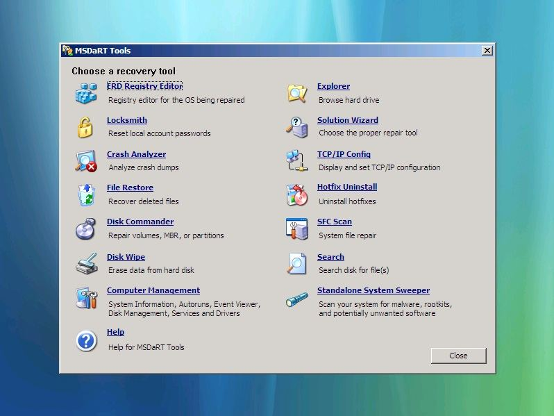 ERD Commander for Vista and Windows 7 erd commander tools