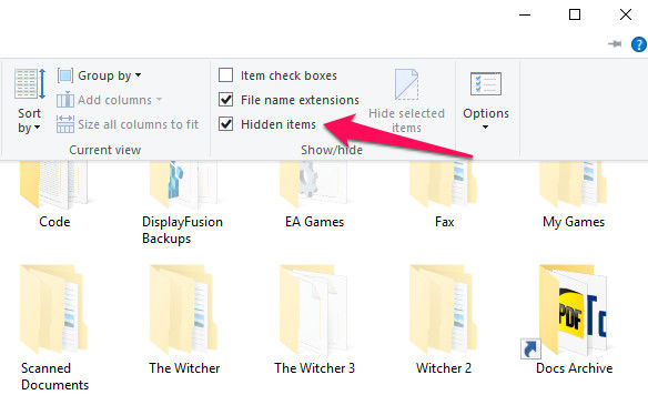 how fo find hidden folder
