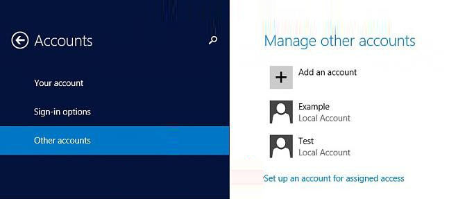 change account type to standard user in windows 8