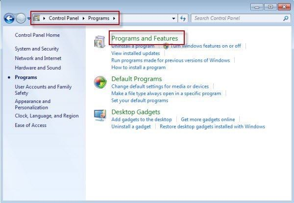 program-and-features