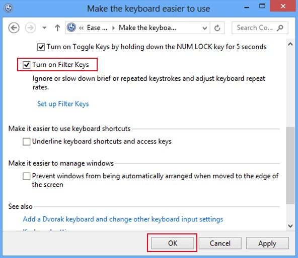 How to Turn on and Turn off Filter Keys in Windows 8 and 7